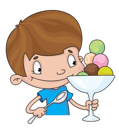kids eating: illustration of a boy with ice cream Illustration