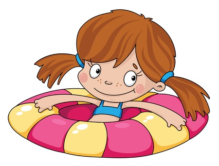 inflatable: illustration of a swimmer funny girl Illustration
