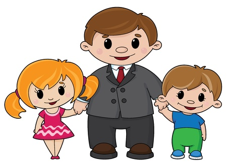 youngsters: illustration of a father and children