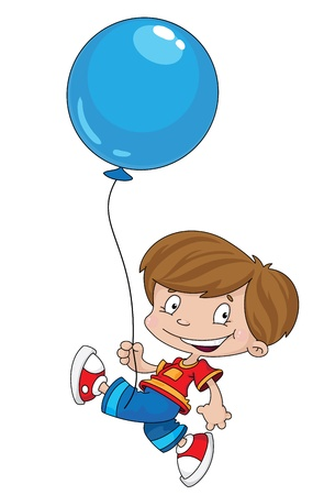 youngsters: illustration of a funny boy with balloon