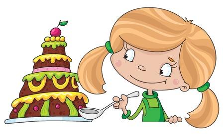 tarte aux cerises: illustration d'une fille et un g�teau