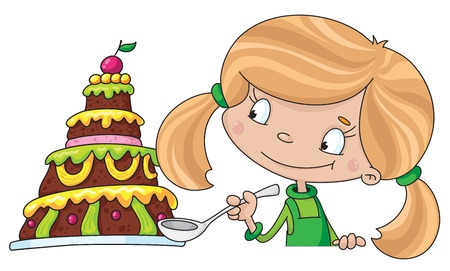 illustration of a girl and cake Vector