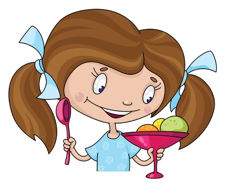 illustration of a girl and ice cream Illustration
