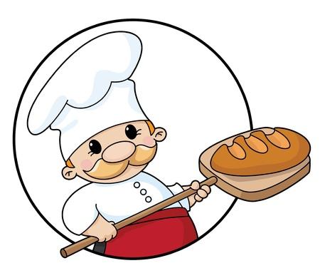 ilustracja piekarz z chlebem koło