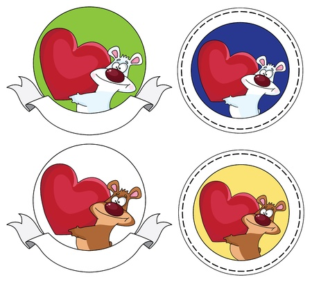 illustration of a bear and heart banner Vector