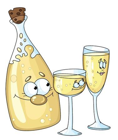 illustration of a bottle and glasses Illustration