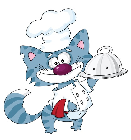 An illustration of a cat the cook with a tray Vector