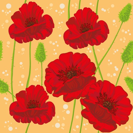 poppy leaf: illustration of a seamless poppies