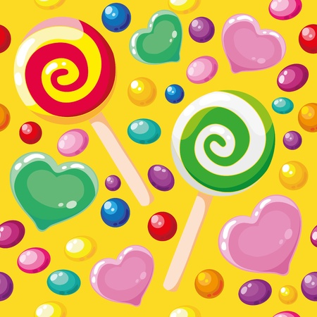 illustration of a seamless pattern cute candies Vector