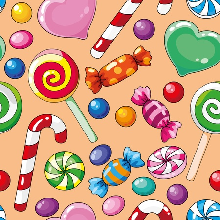cane: illustration of a seamless pattern candies