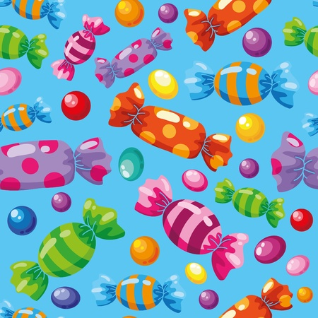 snoepjes: illustratie van een naadloze patroon snoepjes blauw Stock Illustratie
