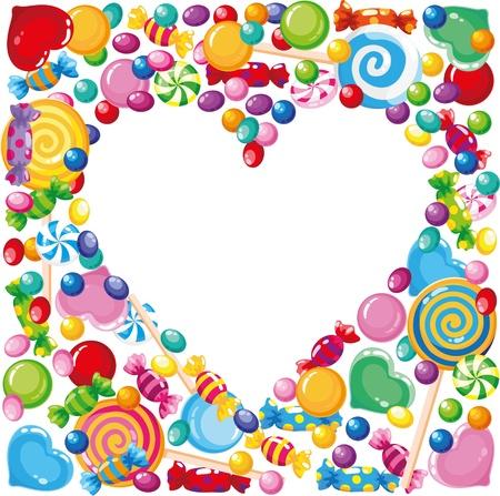 piruleta: Ilustración de un corazón de caramelo Vectores