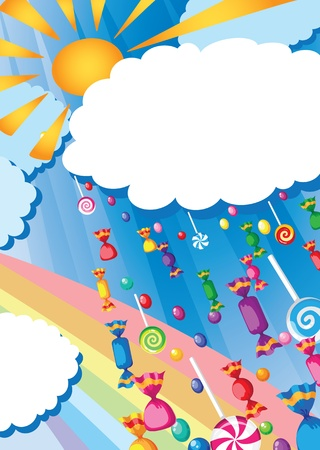 mint candy: illustration of a candy rain and sun card