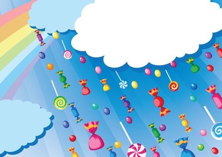 Ilustracja karty deszczem cukierków