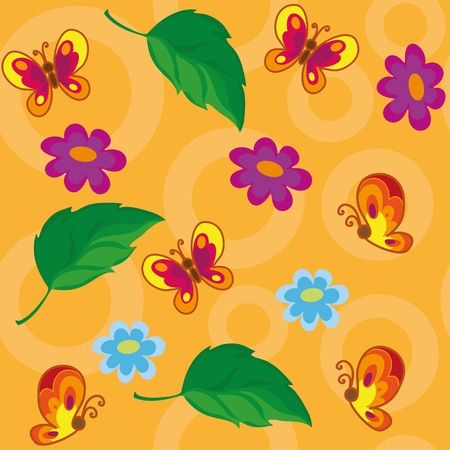 illustration of a seamless flowers and butterflies Vector
