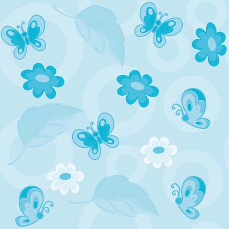 illustration of a seamless flowers and butterflies blue Vector