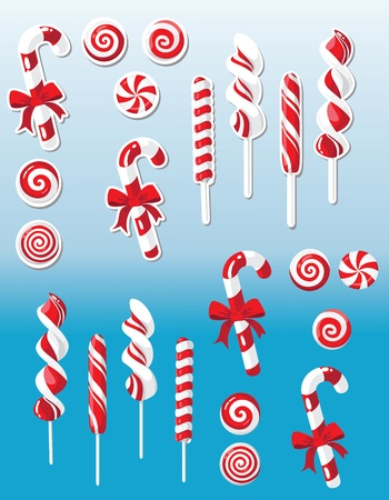 peppermint candy: illustration of a Christmas candy set