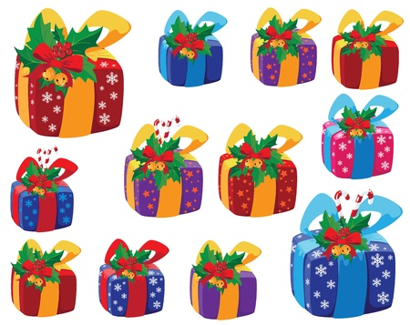 peppermint: illustration of a set of Christmas gifts box Illustration