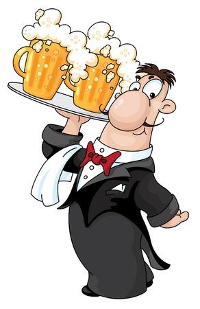 ビールとウェイターのイラスト
