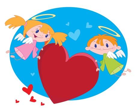 angeles bebe: ilustración de un ángeles y corazones