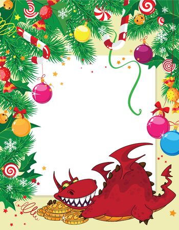 christmas dragon: illustration of a Christmas card and dragon with money