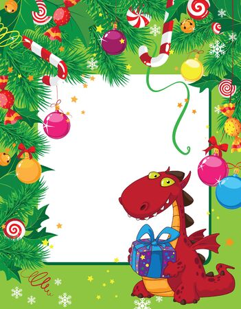 illustration of a Christmas card and dragon Vector