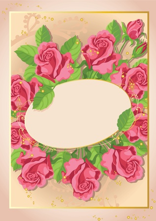 red rose bouquet: illustration of a cute roses card