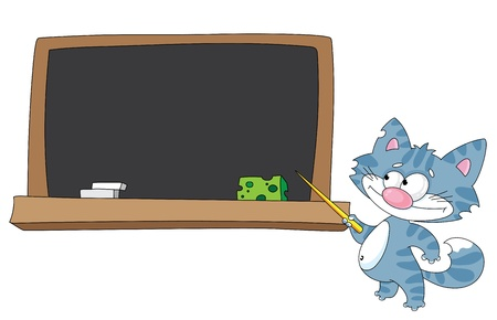illustration of a cat with a pointer and blackboard  Vector