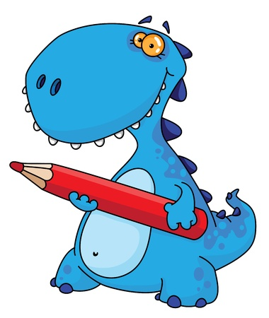 An illustration of a dinosaur with a pencil Vector
