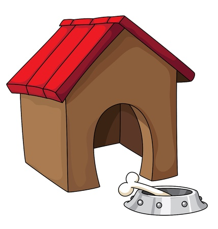 puppies: illustration of a dog house