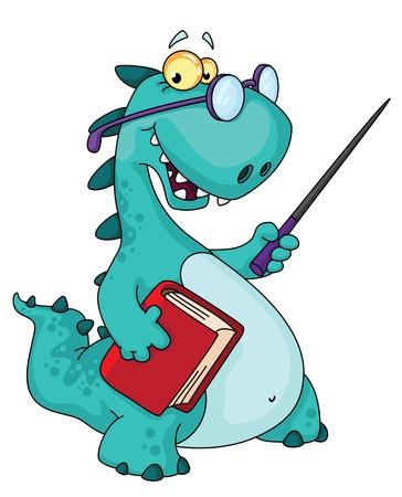 profesor: ilustración de un dinosaurio maestro
