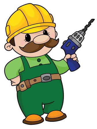 An illustration of a builder with a drill Stock Vector - 11592445