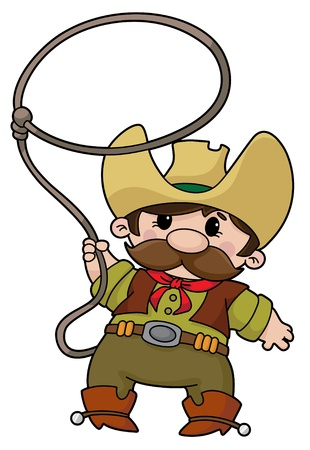 An illustration of a cowboy with lasso Vector