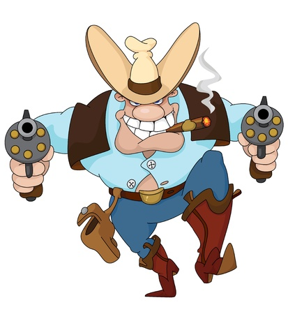 wild prairie: Illustration of a texas cowboy with revolvers