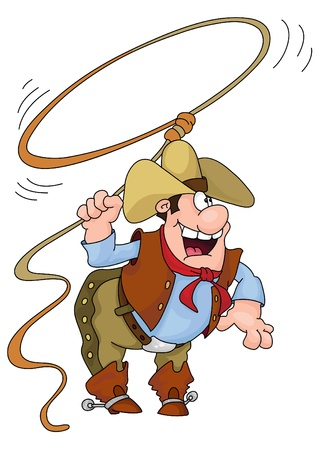 working cowboy:  illustration of a cowboy holding a lasso