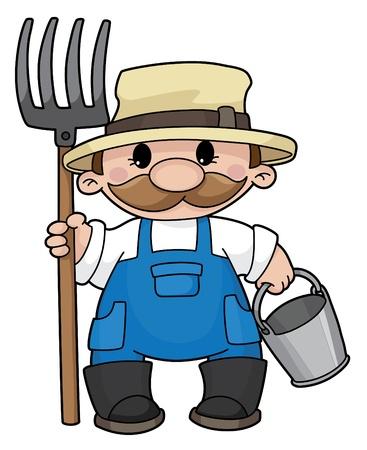 cartoon farmer: Illustration of the farmer with a pitchfork and a bucket