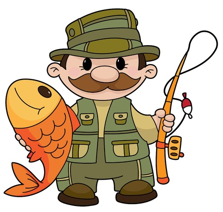 An illustration of a fisherman Иллюстрация