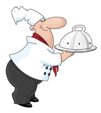 lids: An illustration of a cook with a tray