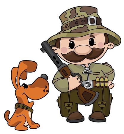 perro de caza: Una ilustración de un cazador y el perro