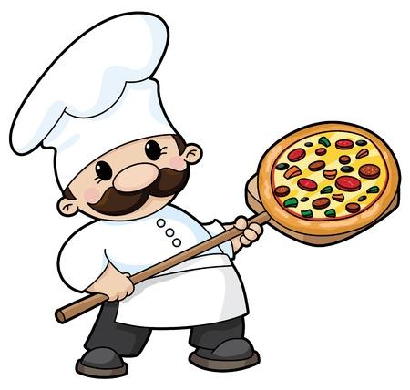 pizza: illustratie van een pizza chef-kok Stock Illustratie