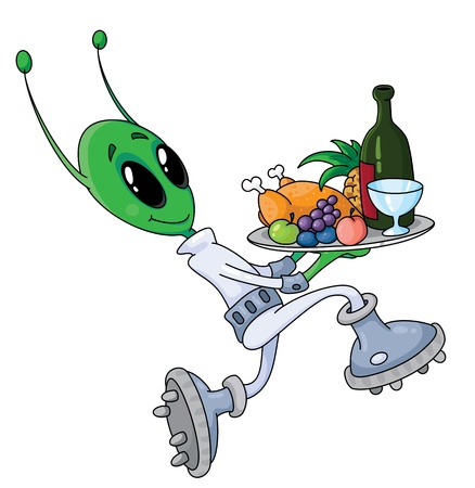 roswell: illustration of a alien with tray