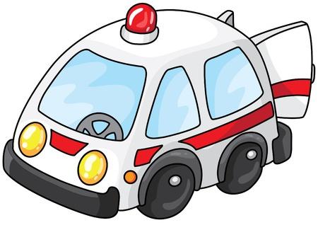 Illustration of a white ambulance  Illustration