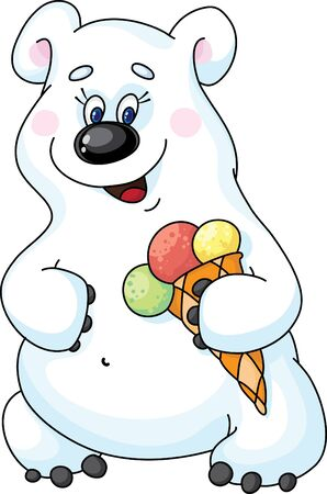 Illustration of a bear and ice cream Stock Vector - 11592529