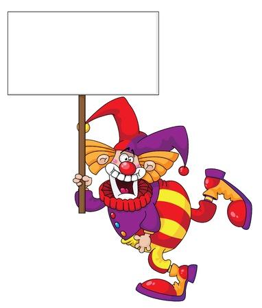 tonto: ilustración de un payaso con un cartel en blanco Vectores