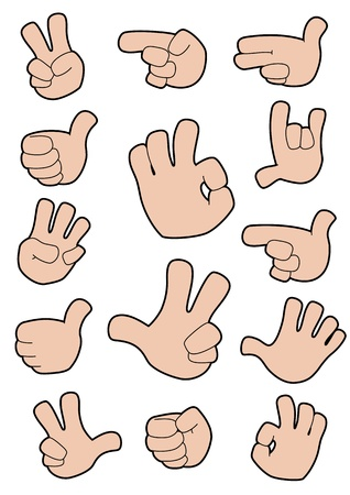 ok sign language: illustration of a collection of gestures