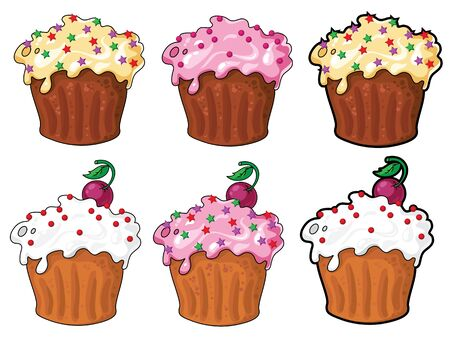 illustration of a collection funny cake Vector