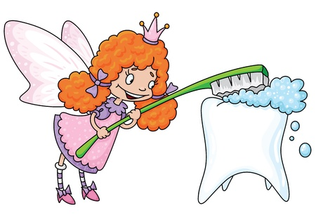 dentist cartoon: illustration of a cute tooth fairy