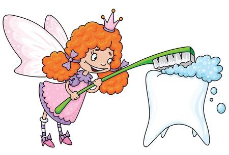 diente caricatura: ilustraci�n de un hada de los dientes lindos