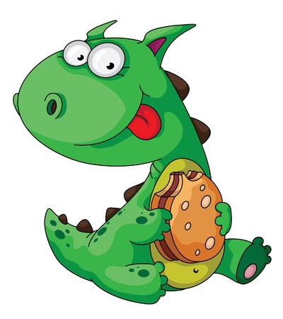 cartoon tomato: illustration of a dinosaur eating