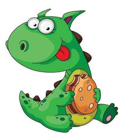 dinosaurio caricatura: ilustración de un dinosaurio comer